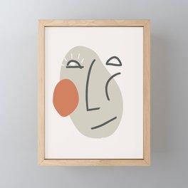Abstract Minimal Face 02 - Modern Boho Line Art Drawing Illustration Shapes Framed Mini Art Print