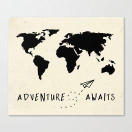 Adventure Map - Vintage Black Canvas Print