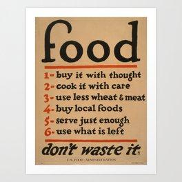 Vintage poster - Don't Waste Food Art Print