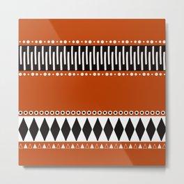 Bohemian orange, black&white tribal vibe Metal Print