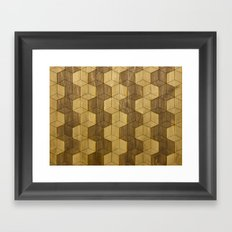 Wooden Zig Zag Optical Cubes Framed Art Print