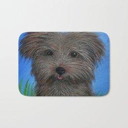 Scruffy Yorkie Dog Portrait Bath Mat
