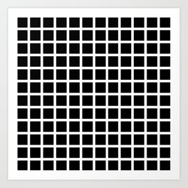Endless Grid Retro Themed Black and White Design Art Print