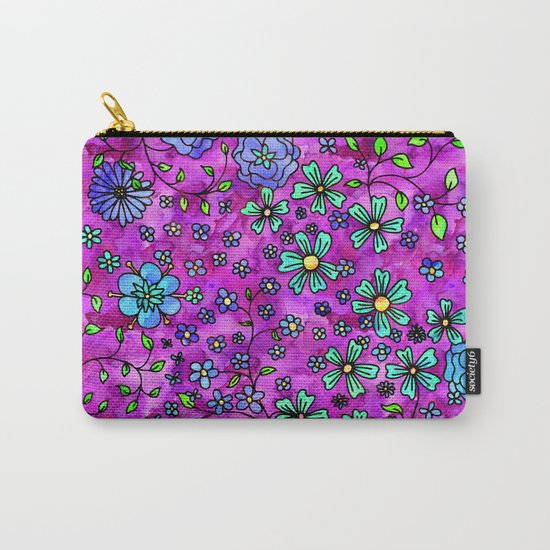 Blue Small Flowers Carry-All Pouch