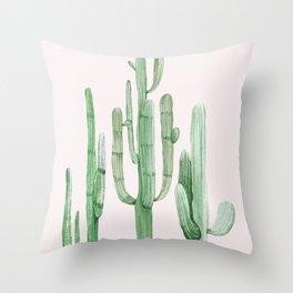 Three Amigos Pink + Green Throw Pillow