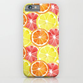 Grapefruit Lemon Orange Pattern iPhone Case