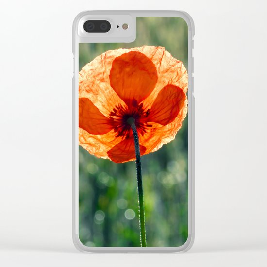 Poppy in a green meadow-Poppies and Flowers on #Society6 Clear iPhone Case