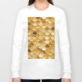 Gold Trendy Glitter Mermaid Scales Long Sleeve T-shirt