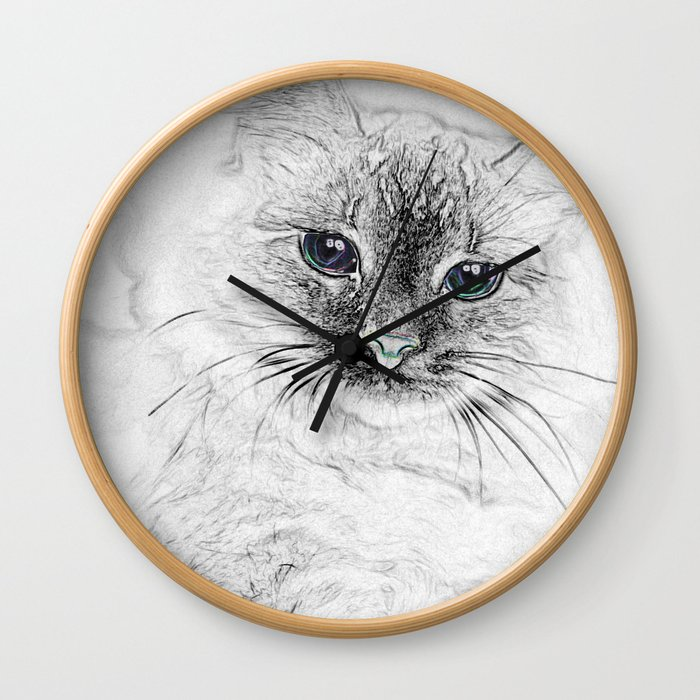 Siberian Kitty Cat Laying on the Marble Slab Wall Clock