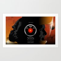 2001 a space odyssey Art Prints featuring 2001 - A space odyssey by Martin Woutisseth