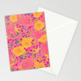 Cat Bouquet orange pink Stationery Cards