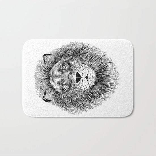 Black+White Lion Bath Mat