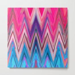 Bright Pink Teal Ikat Chevron Aztec Pattern Metal Print