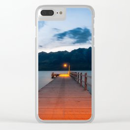 Moon rising at Glenorchy wharf, NZ Clear iPhone Case
