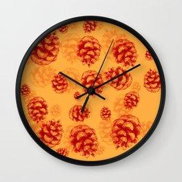 Conifer cone pattern - orange Wall Clock