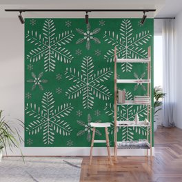 DP044-12 Silver snowflakes on green Wall Mural