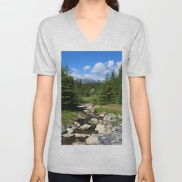 Mountain Brook In Th Rockies Unisex V-Neck