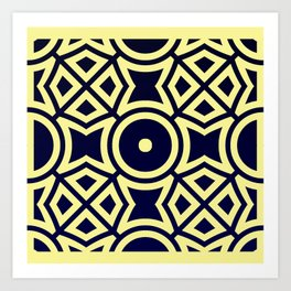 Composition in Texas Yellow and Stratos Blue Art Print