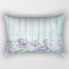 Romantic Vintage Shabby Chic Floral Wood Blue Rectangular Pillow