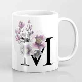 Letter 'M' Magnolia Flower Typography Coffee Mug
