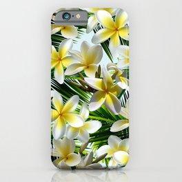 Plumeria on Palm Leaves iPhone Case