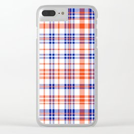 Florida University silhouette orange and blue pattern sports football college gators gator fan plaid Clear iPhone Case