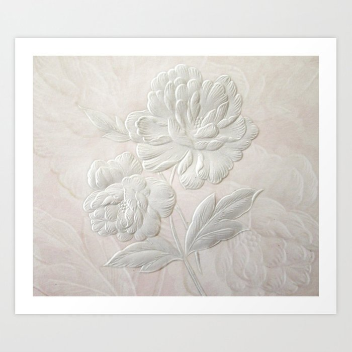 Embossed Painterly White Floral Abstract Kunstdrucke