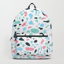 Terrazzo memphis vintage pastel blue green pink Backpack