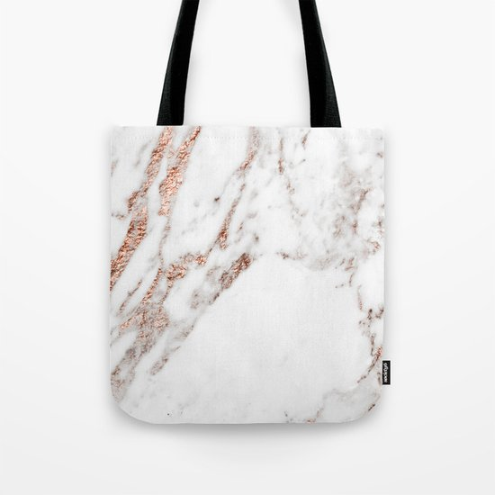 Rose gold foil marble Tote Bag