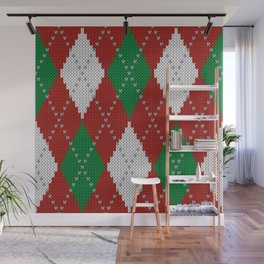 Knitted argyle Christmas sweater pattern on red Wall Mural