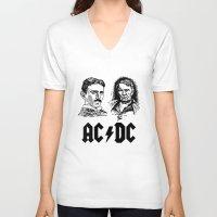 acdc V-neck T-shirts featuring AC-DC Nikolas TESLA Thomas Edison by nicksoulart