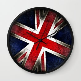 Punk Grunge Union Jack British Flag Wall Clock