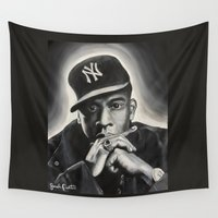jay z Wall Tapestries featuring Jay-Z by Sarah Painter