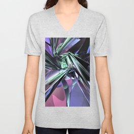 Abstract Metallic Reflections Unisex V-Neck