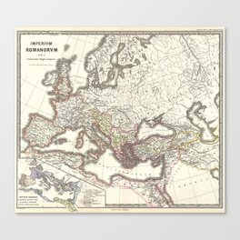 Vintage Map of The Roman Empire (1865) Canvas Print