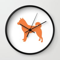 shiba inu Wall Clocks featuring Shiba Inu (Orange/White) by Erin Rea