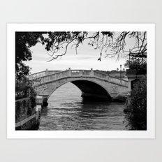 Venice bridge in black and white Art Print