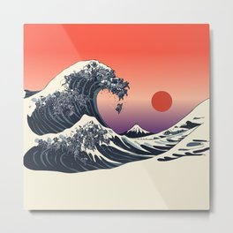 The Great Wave of Black Pug Metal Print