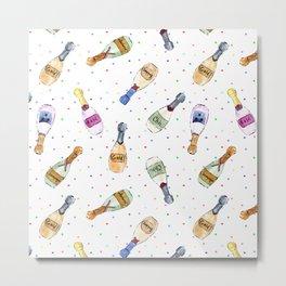 Champagne party - watercolor bottles Metal Print
