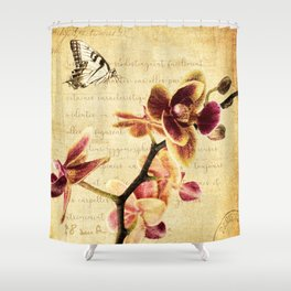 Orchid Flower Butterfly Modern French Country Cottage Art A183 Shower Curtain
