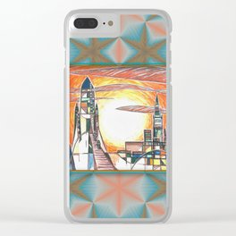 Retro rockets semi abstract art Clear iPhone Case