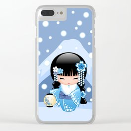 Japanese Winter Kokeshi Doll at Blue Mountain Clear iPhone Case