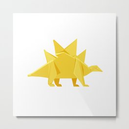 Origami Stegosaurus Flavum Metal Print