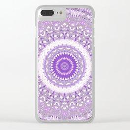 Lavender Purple Lace Mandala Clear iPhone Case