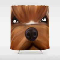 yorkie Shower Curtains featuring Yorkie face by Mario Laliberte