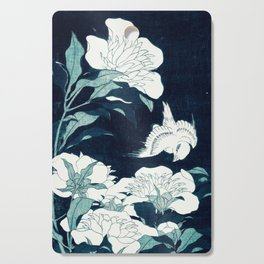 JAPANESE FLOWERS Midnight Blue Teal Cutting Board