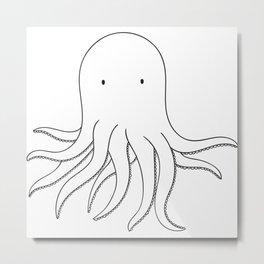 Cute Squid Animal sketch drawing Metal Print