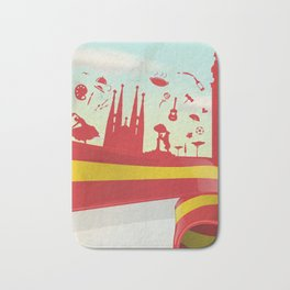 Spain Element on Flag with sky background Bath Mat