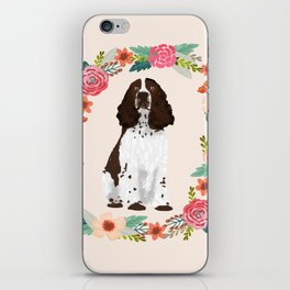 english springer spaniel dog floral wreath dog gifts pet portraits iPhone Skin