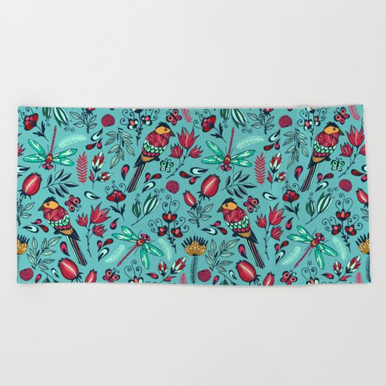 Birds and dragonflies blue pattern Beach Towel